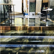 Luxury Peacock Green Marble Step Tiles