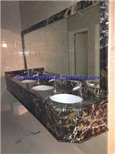 Black Gold Marble Commercial Bath Tops for Sinks Black and Gold