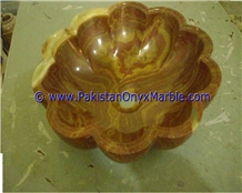 Brown Golden Onyx Flower Shaped Sinks Basins