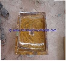 Brown Golden Onyx Rectangle Shaped Sinks Basins
