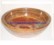 Brown Golden Onyx Round Bowl Sinks Basins