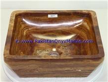 Brown Golden Onyx Square Sinks Basins