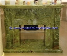 Dark Green Onyx Fireplaces Hand Carved