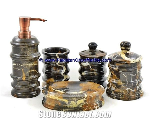Michaelangelo Marble Bathroom Accessories Set Black And Gold Bathroom Sets From Pakistan Stonecontact Com