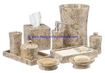 Pakistan Fossil Marble Bathroom Accessories Set Fossil Coral