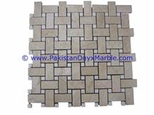 Pakistan Sahara Beige Marble Mosaic Tiles Basket Weave