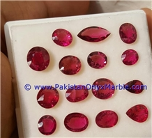 Ruby Faceted Cut Stones Shapes Round Oval Emerald
