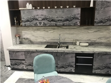 Silver Statuario Armani Marble Kitchen Countertops