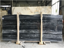 China Wooden Black Marble Slabs