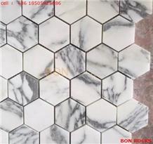 Hexagon Mosaic White Marble Tile