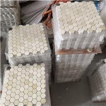 Polished Cream Marfil Marble Bathroom Mosaic Tiles