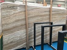 Wood Grain Brown Travertine Slabs & Flooring Tiles