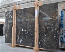 Alanya Black Marble Slabs, Turkish Black Marble