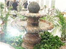 Sand Wave Base Blue Pearl Granite Ball Fountain