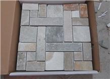 Multicolor Yellow Slate Mosaic Wall Floor Tiles