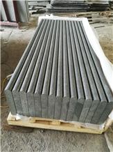 New G684 Stair Black Basalt Flamed Bullnose Step