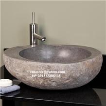 Indonesia Grey Basalt Natural Stone Wash Basin