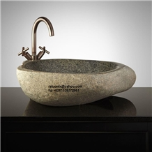 Indonesia Grey Basalt River Stone Sink