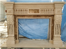 Galala Beige Marble Fireplace Mantel Sculpture