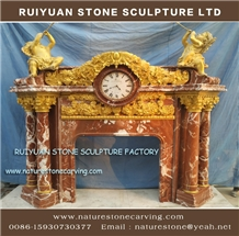 Red Marble Fireplace Mantel Sculpture Fireplace