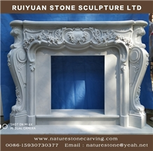 White Marble Fireplace Mantel Sculpture Fireplace