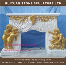 White Marble Fireplace with Bronze Sculpture