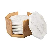 Bianco Carrara White Nero Marquina Marble Coasters