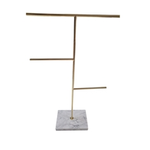 Gold Metal Jewelry Display Rack with Marble Base