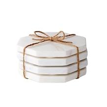 White Carrara Marble Stone Hexagon Coasters Mats