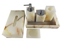 White Onyx 5-Pcs Bathroom Accessories Sets Tissue
