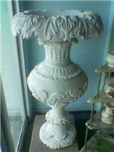 Makrana White Marble Flower Pot