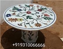 Table Top Inlayed Makrana Marble