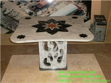 Table Top Inlayed Makrana White Marble