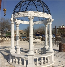 Hand Carved Natural Stone Marble Garden Gazebo