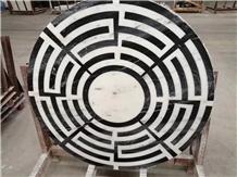 Black White Flooring Marble Round Tile Medallions
