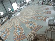 Marble Mosaics Art,Luxury Medallions,Orange Carpet