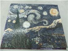 Marble Mosaics Art,Medallions Of Night Starry Sky