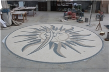 Marble Mosaics Arts, Medallions Of Sun and Moon