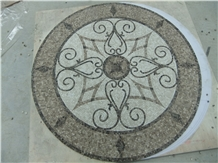 Marble Mosaics Medallions Round Carpet for Floor