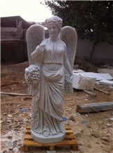 China White Marble Angel Sculptures Handcrafts