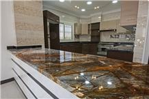 Rainforest Brown Marble Kitchen Countertop