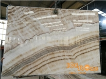 China Crema Beige Onyx Slabs & Tiles Bookmatch