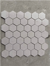 Grey Travertine Hexagon Honed Mosaic