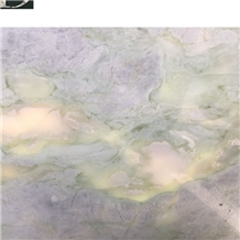 New Namibe Light Green Translucent Marble Slab