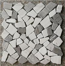 White Wood Marble Tumbled Mosaic Tile