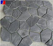 China Manufacturer Black Slate Mesh Tile Setts