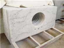 Bianco Carrara Marble Prefab Single Sink Bath Tops