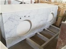 Bianco Carrra White Marble Double Sink Vanity Top