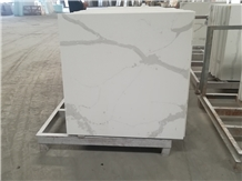 Square Calacatta White Quartz Stone Cafe Table Top