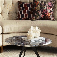 Polished Good Quality Agate Jade Brown Coffee Table